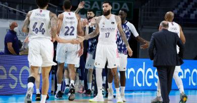 primer partido de la eliminatoria de cuartos de final de liga endesa 2020-21 real madrid gran canaria 24senblanco